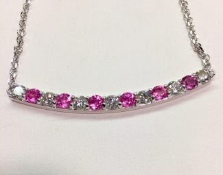 Pink saphire diamond necklace NYC