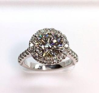 Lab grown diamond ring top view