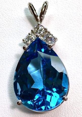 Blue topaz and diamond