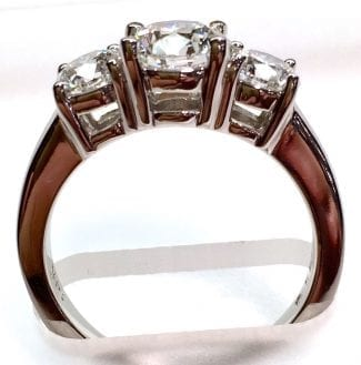 3 stone engagement ring with Lab Grown Diamonds