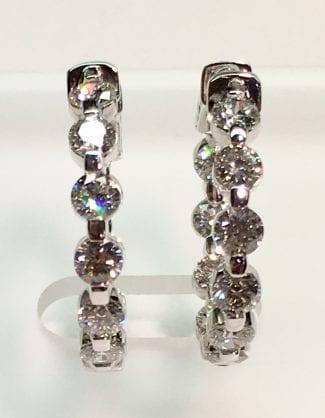 Diamond hoop earrings close up