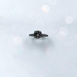 Top view of lab grown diamond ring