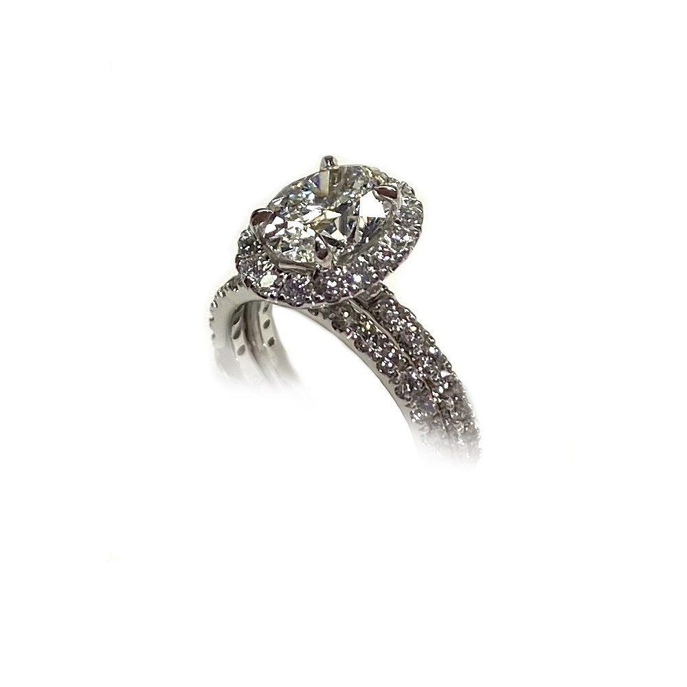 Angle Platinum Engagement Ring