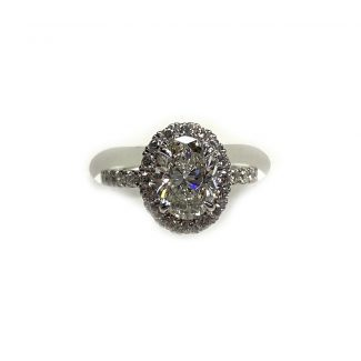 Top down view platinum engagement ring