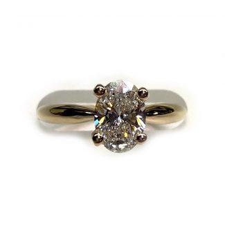 Yellow gold and 1.25 ct diamond