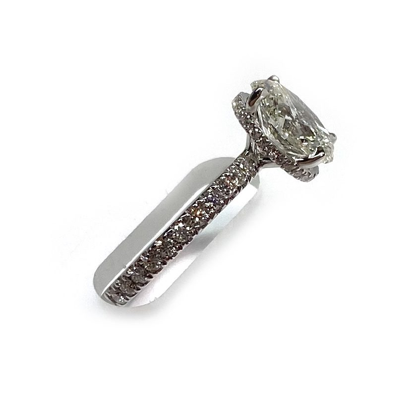 Mined Oval Diamond with White Gold - Profile