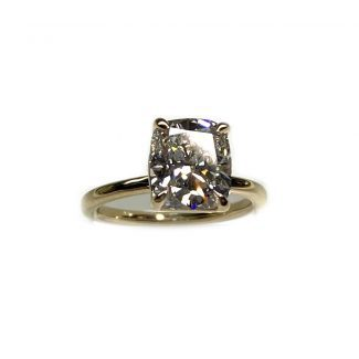 Top down view of cushion diamond engagement ring